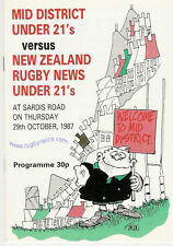 MID DISTRICT v NEW ZEALAND UNDER 21 1987 RUGBY PROGRAMME