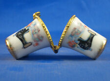 PORCELAIN  THIMBLE  NEEDLE CASE -- SEWING MACHINE WITH QUILT