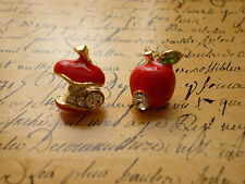 Kitsch Quirky Red Apple Core Crystal Detailed Costume Jewellery Stud Earrings