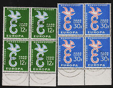 1958 Common Design Europa Saar Set Sc#317-318 USED CTO Bottom Margin Block of 4
