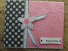 Handmade BIRTHDAY Card EMBOSSED Using Stampin Up Flower PINK