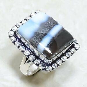 Owyhee Blue Opal Gemstone Handmade Silver Jewelry Ring Size 8 RRJ7040