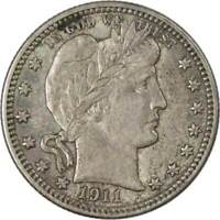 1911 25c Barber Silver Quarter US Coin AU About Uncirculated
