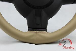 FOR JAGUAR XK8 97-06 BEIGE LEATHER STEERING WHEEL COVER PURPLE STIT