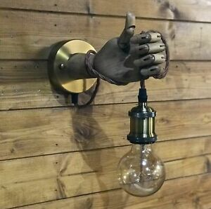 Wooden Vintage Mannequin Hand Lamp, Wall Lamp Sconce, Steampunk Edison Light