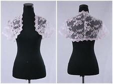 New Short Sleeve White Ivory Lace Shawl Bolero Wedding Jacket Bridal Custom