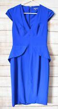 Sheike Pencil Peplum Dress Size 10 Blue Short Sleeve V-neck Zip Back