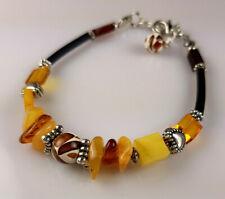 6,9-8,1 IN Vintage Elegant Genuine Baltic Amber Mixed Bracelet Tibet Silver 0021