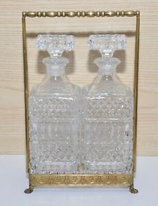 Bottiglia whiskey brandy cognac vetro cristallo porta bottiglia ottone vintage