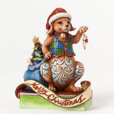 Jim Shore Christmas Dog Decorating Tree w/Cat Ornament Figurine ~ 4041095