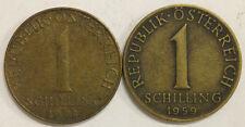 AUSTRIA REPUBLIC OSTERREICH COIN: 1 SCHILLING 1959, 1978