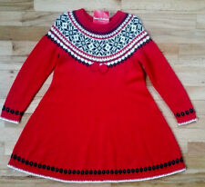 NWT HANNA ANDERSSON Swedish RED Sno Happy Fair Isle Twirl Sweater Dress 130 8
