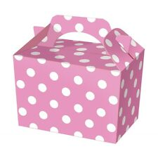 10 Pink Polka Dot Party Boxes - Spotty Food Loot Lunch Cardboard Gift