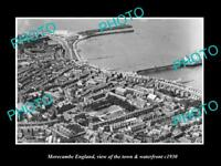 OLD LARGE HISTORIC PHOTO OF MORECAMBE ENGLAND, THE TOWN & WATERFRONT c1930