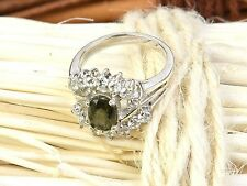 MOLDAVITE FACETED RING SILVER.925 7x5mm - US 5 - 3.9g #RING931