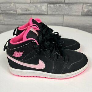 Air Jordan Kids 1 Mid Top Retro Black Pink Leather Athletic Sneakers Size 13C
