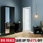High Gloss Bedroom Furniture 3 piece Set Wardrobe Drawer Chest Bedside Table