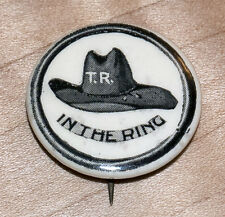 "Original & Scarce 1912 Teddy Roosevelt - TR Hat in the Ring - 7/8""  Rebus Pin"