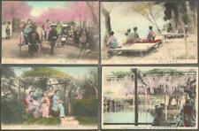 Japan 4 x Hand-Tinted Postcards - Maidens, Geishas With Parasols, Rickshaw - RP