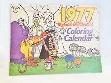 VINTAGE 1977 RONAD McDONALD COLORING CALENDAR - 1 MISSING COUPON