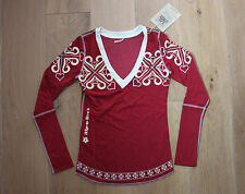 NEW Alp-n-Rock Women's SNOWFLAKE V-NECK LONGSLEEVE - Red Maroon White - XS / 1