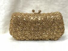 FULL Gold~ Floral Pattern Handmade Austrian Crystal Evening Cocktail Bag NEW