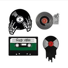 Punk Music Lovers Enamel Good vibes tape DJ Vinyl Record Player Badge Brooch Pin