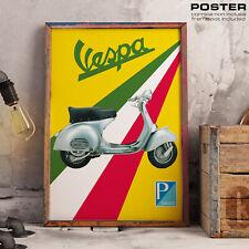 POSTER Piaggio Vespa Vintage Scooter 50 125 150 Primavera Epoca ASI Italy Flag