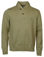 Tommy Hilfiger Men's 2 Button Shawl Collar Cotton Sweater-Brown-L
