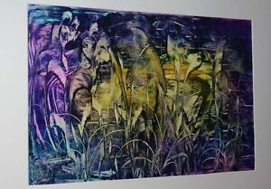 Peter Reichle - Acrylic Painting - Painting Purple Wonders - Signed - 75 X 50 CM