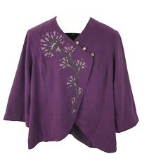 Bob Mackie Womens Ladies Purple Jacket Coat Floral Design Size L