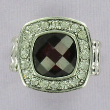 Red Square Stone Stretch Ring Fashion Crystal Bling Cocktail Silver One Size NEW