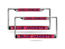 Columbus Blue Jackets NHL Chrome Metal (2) Laser Cut License Plate Frame Set