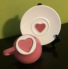Starbucks Espresso Heart Cup 2005 Pink Ceramic Mug Tea Coffee Valentine Gift