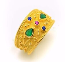 Etruscan Sterling Silver Gold Plated Byzantine Ring Handmade Greek Multi Stone