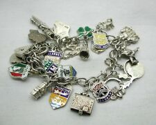 Vintage Silver Curb Link Bracelet With Heart Padlock & 22 Various Silver Charms