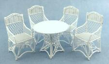 Dolls House Miniature Garden Furniture White Wrought Iron Patio Set Table Chairs