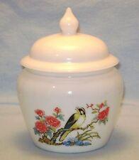Milk Glass Covered Bowl Avon Ginger Jar Bird Floral Flowers Euc