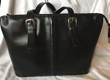 JACK GEORGES Black Split Leather MILANO MADISON AVENUE Business Tote Laptop Bag