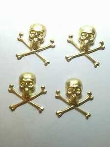 4 Brass Skull Stamping Furniture Jewellery Making Craft Design CLEARANCE  RB324