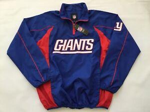"""NWT New York Giants 8"""" Zip Pullover Raglan Sleeves Mesh Lined Windbreaker LARGE"""