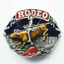 Western Rodeo Bull Riding Rider Cowboy Color Belt Buckle