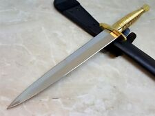 Commando Knife Double Edge Blade Hidden Tang Dagger w/ Brass Handle and Guard