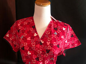 Scrubs Scrub Top Disney Mickey Minnie Mouse Small S (H80) NEW WITH TAGS NWT