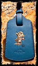 NWT COACH GARY BASEMAN Buster Le Fauve LUGGAGE TAG PEACOCK BLUE 64723 New