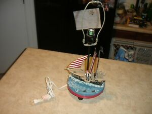 Guidecraft Pirate Ship Kids Hand-Painted Table Top Lamp in Blue