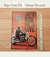 Live to Ride Sign Ride to Live Sign Metal Harley Davidson Sign Tin Harley Sign