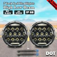 2x 7'' Inch DOT LED Headlights Hi-Lo DRL For Nissan Patrol GQ Jeep Wrangler