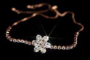 """Created Diamond Rotating Flower """"GOOD LUCK"""" Bracelet (R) Adjustable"""