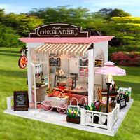 Mini DIY LED Wooden Dollhouse Miniature Wooden Furniture Doll House Kit